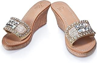 Gorgeous Jeweled Genuine Leather Shoes Pasha, Style Lembata Gold
