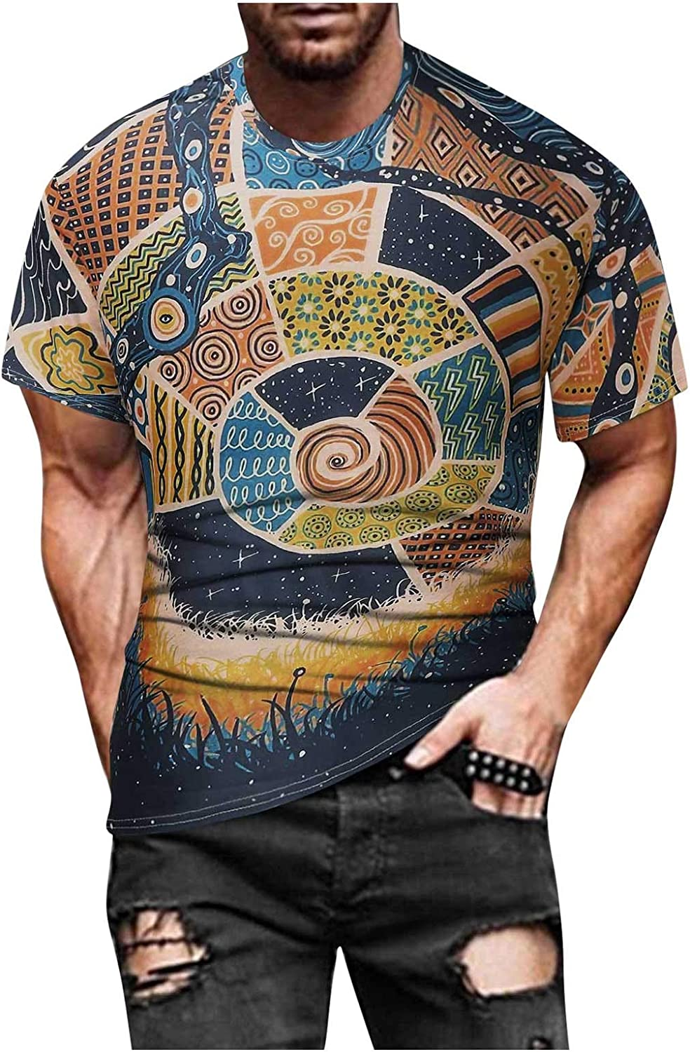 Fashion 3D Print Design t-Shirt for Men Graphic Colorful Short Sleeve Funny Street Round Neck Tops Blouse