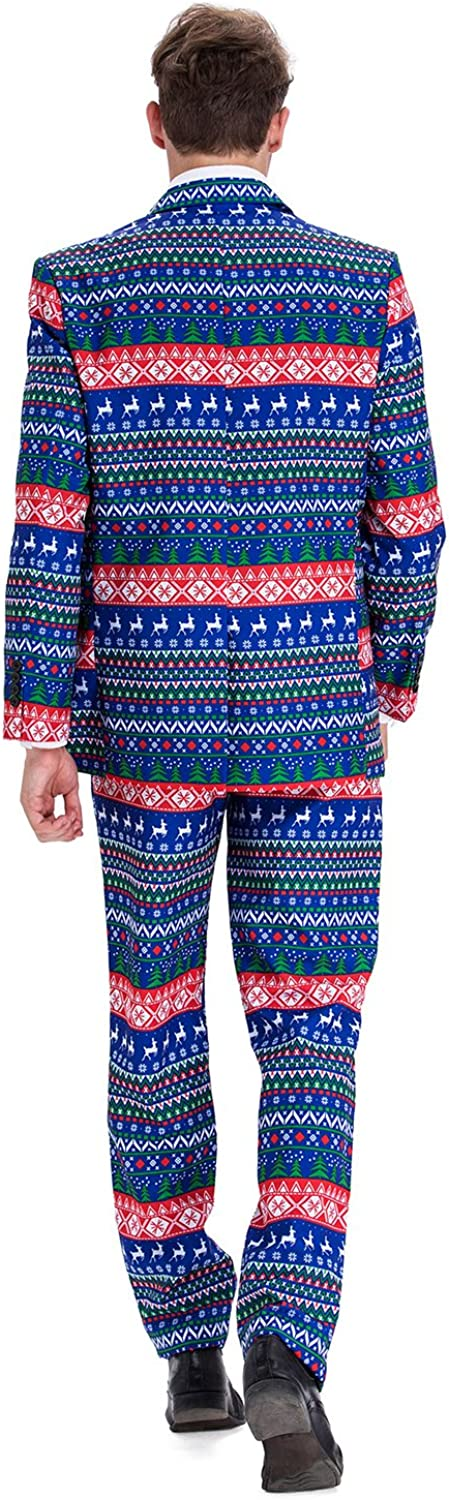 Ugly Christmas Suit Outfit-Regular Fit U LOOK UGLY TODAY Christmas Suit Party Mens Funny Novelty Xmas Jacket Costume