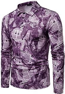 Men's Long Sleeve Polo Shirt Casual Lapels Fashionable Dynamic Design Men's Long Sleeve Polo Shirt,Purple,L