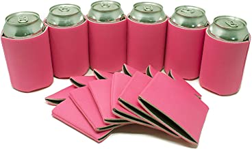 Tahoebay 12 Can Sleeves for Standard Cans Blank Poly Foam Beer Insulator Coolers (Hot Pink, 12)