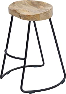 The Urban Port Wooden Saddle Seat Barstool with Metal Legs, Large, Brown and Black