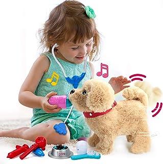 POLARDOR Electronic Pets with Songs, Kids Girls Plush Interactive Dog, Singing, Walking, Barking, Tail Wagging, Realistic ...