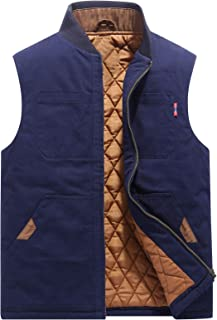 Mens Casual Outdoor Work Utility Quilted Duck Insulated Vest (Medium, Navy Blue)