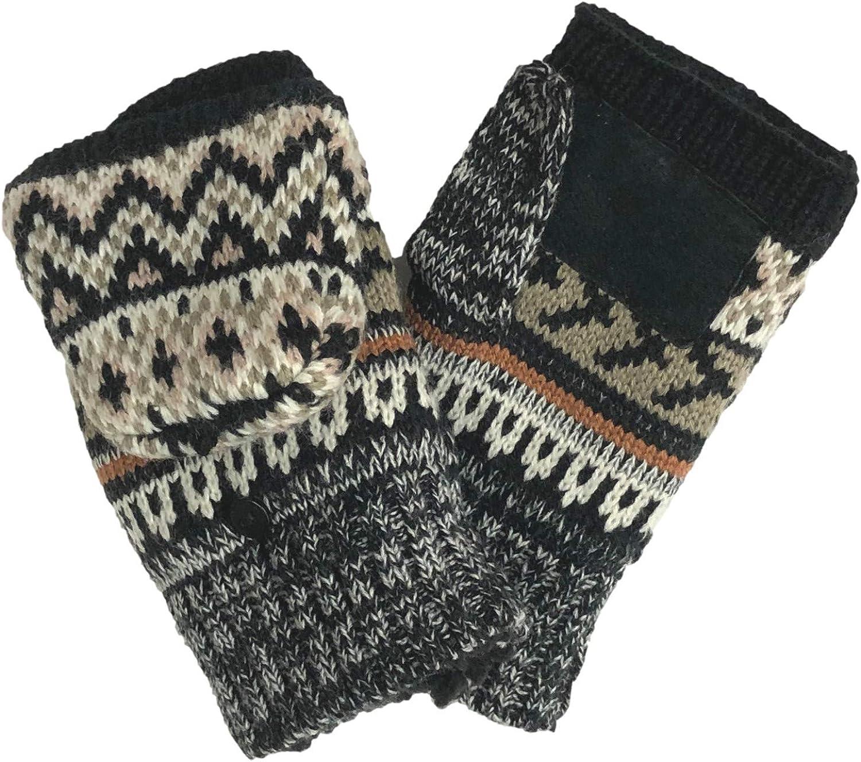 Isotoner Womens Black & Brown Aztec Knit Convertible Fingerless Sherpa Gloves