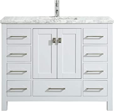 Amazon Com Eviva London 48 X 18 Inch White Transitional Bathroom Vanity With White Carrara Marble Countertop And Undermount Porcelain Sink Furniture Decor