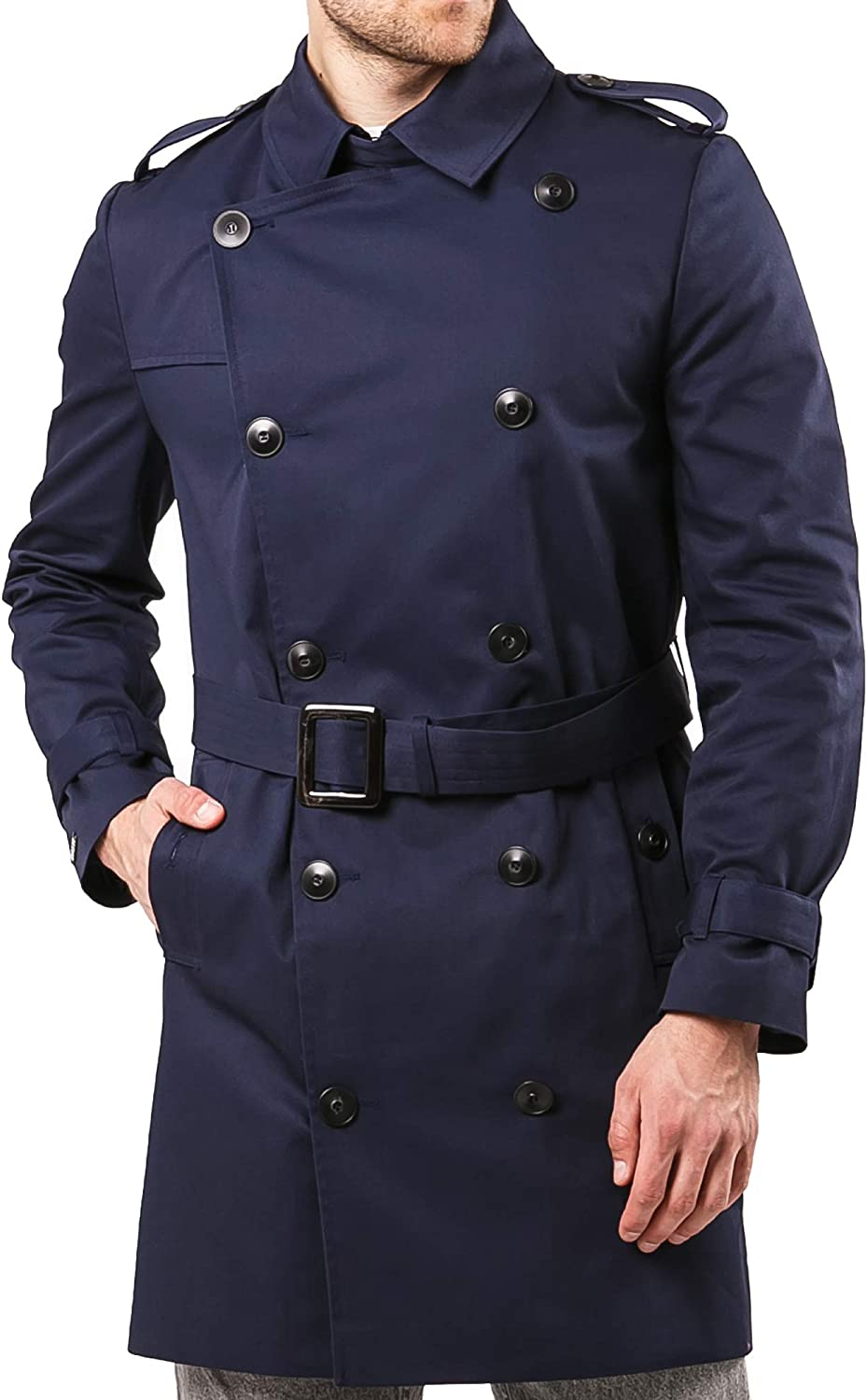 Mens Trench Coat Raincoat Fall Light Jackets for Men Rain Double Breasted Suit
