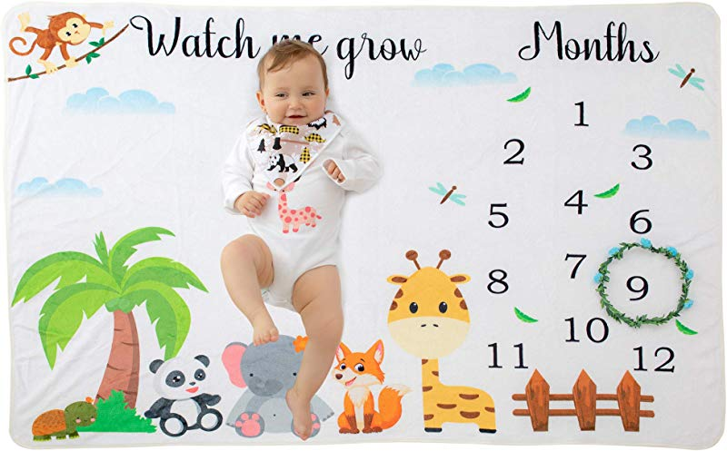 Nebur Shop Baby Monthly Milestone Blanket Thick Cotton Fleece Flannel Photography Background Blanket Animal Theme Personalized Baby Gift Large Size 100x150cm