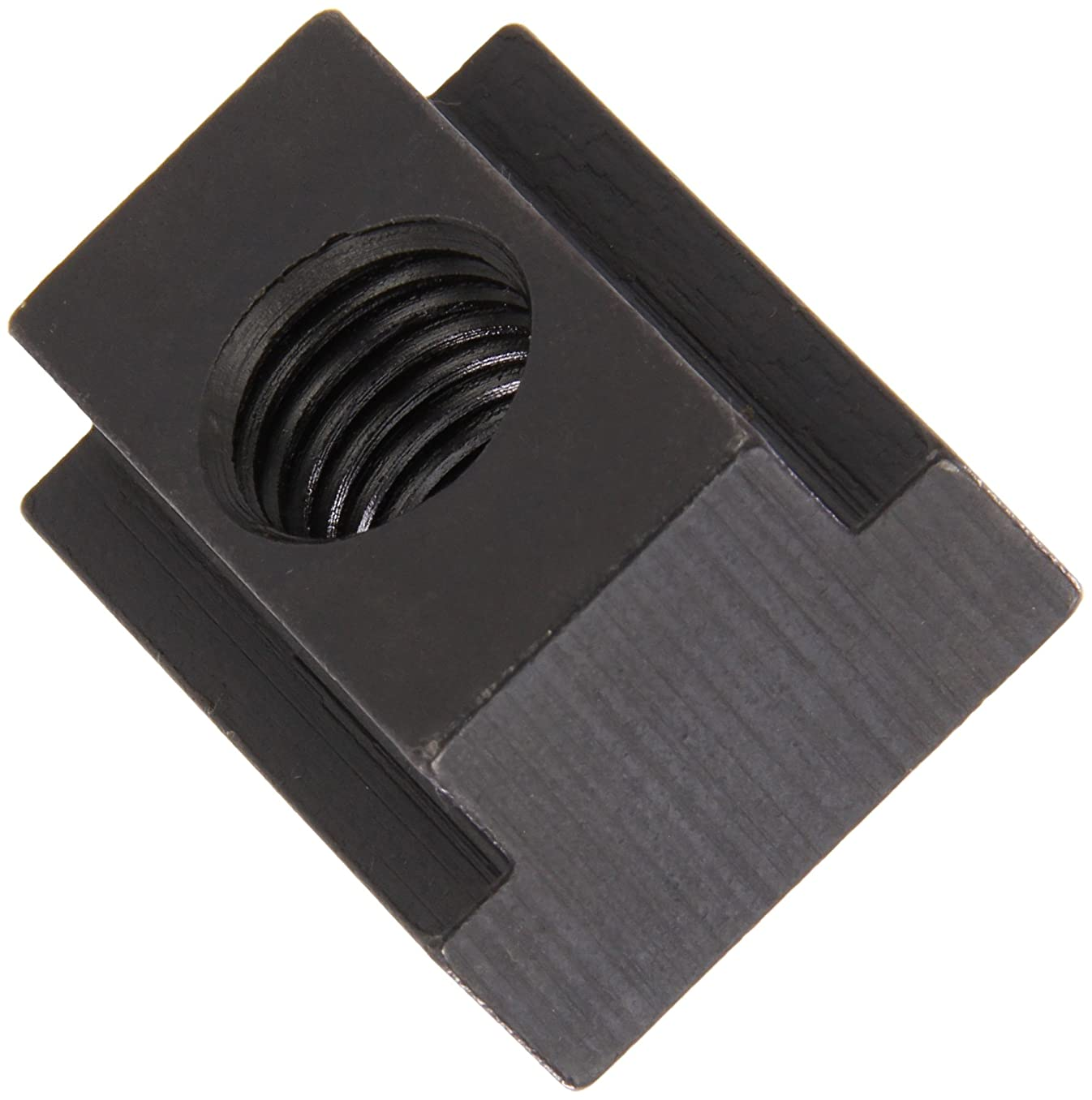 1018 Steel T-Slot Nut, Black Oxide Finish, Tapped Through, 5/16