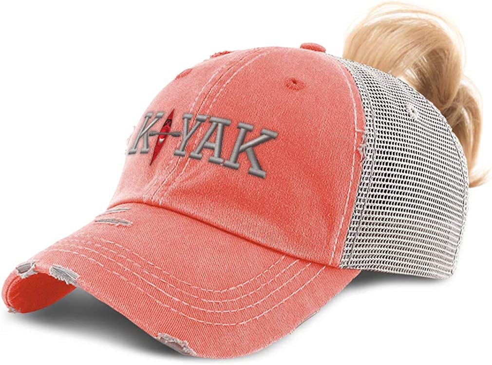 Custom Womens Ponytail Store Cap Kayak Tr Online limited product Embroidery Cotton Distressed