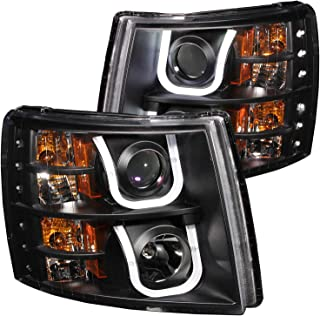 AnzoUSA 111281 CHEVY SILVERADO 1500 07-13 / 2500HD/3500HD 07-14 PROJECTOR HEADLIGHTS U-BAR BLACK CLEAR