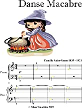 Danse Macabre Camille Saint Saens Easy Piano Sheet Music with Colored Notation