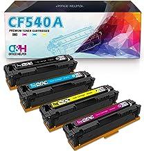 OFFICE HELPER 203A CF540A Reemplazo de Cartucho de Tóner Compatible para HP Color Laserjet Pro MFP M281FDW M254NW MFP M280NW M254DW M254dn MFP M281FDN M281 M254, 4 Paquete
