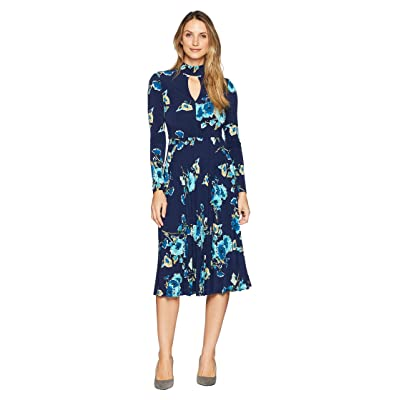 Maggy London Floral Jersey Fit and Flare Dress with Pleated Skirt (Navy/Teal) Women