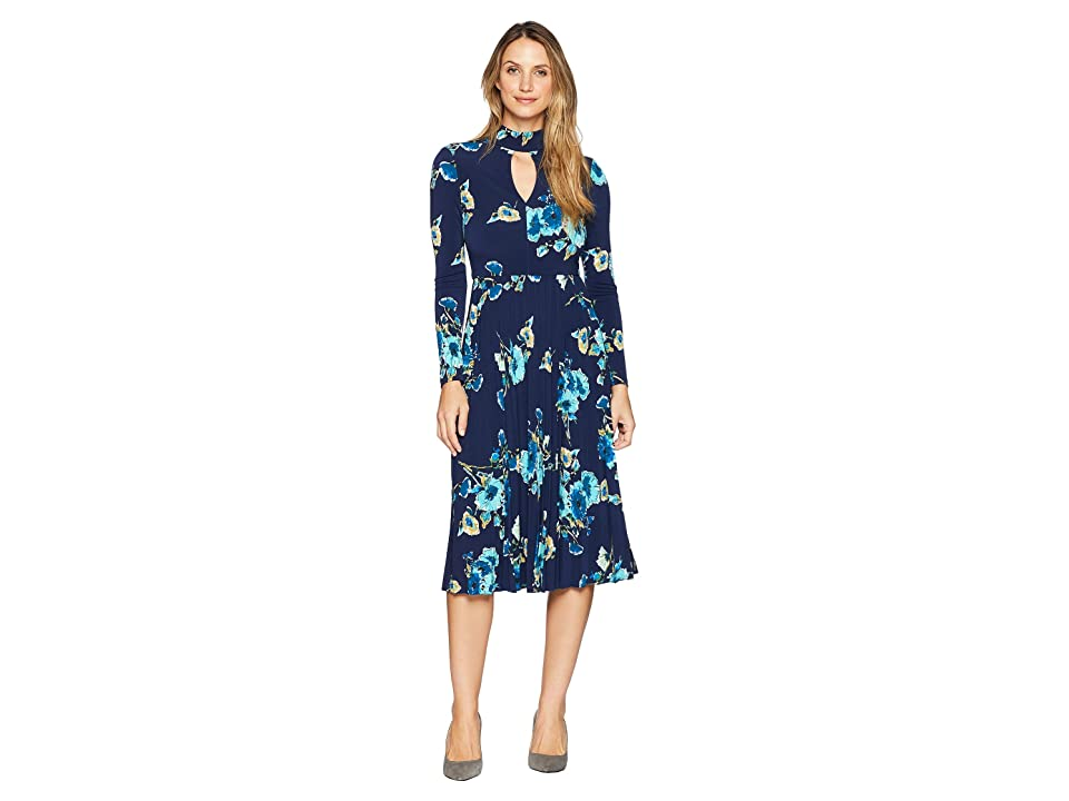 546328b17f19 Maggy London Floral Jersey Fit and Flare Dress with Pleated Skirt (Navy /Teal)