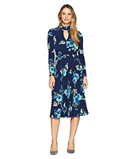 Floral Jersey Fit and Flare Dress with Pleated Skirt
