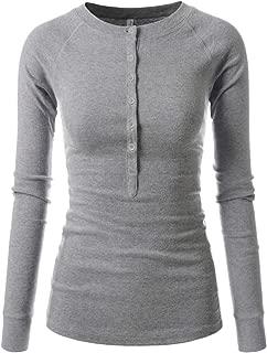 Slim Long Sleeve V Neck Henley Shirts Asymmetrical Tunic Tops for Women