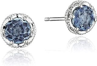 SE24033 Sterling Silver Island Rains Petite Crescent Crown London Blue Topaz Stud Earrings