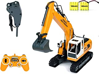 DoubleE RC Excavator Tractor Toy Construction Vehicles 17 Channel Truck Deluxe Package with Metal Shovel and Breaker