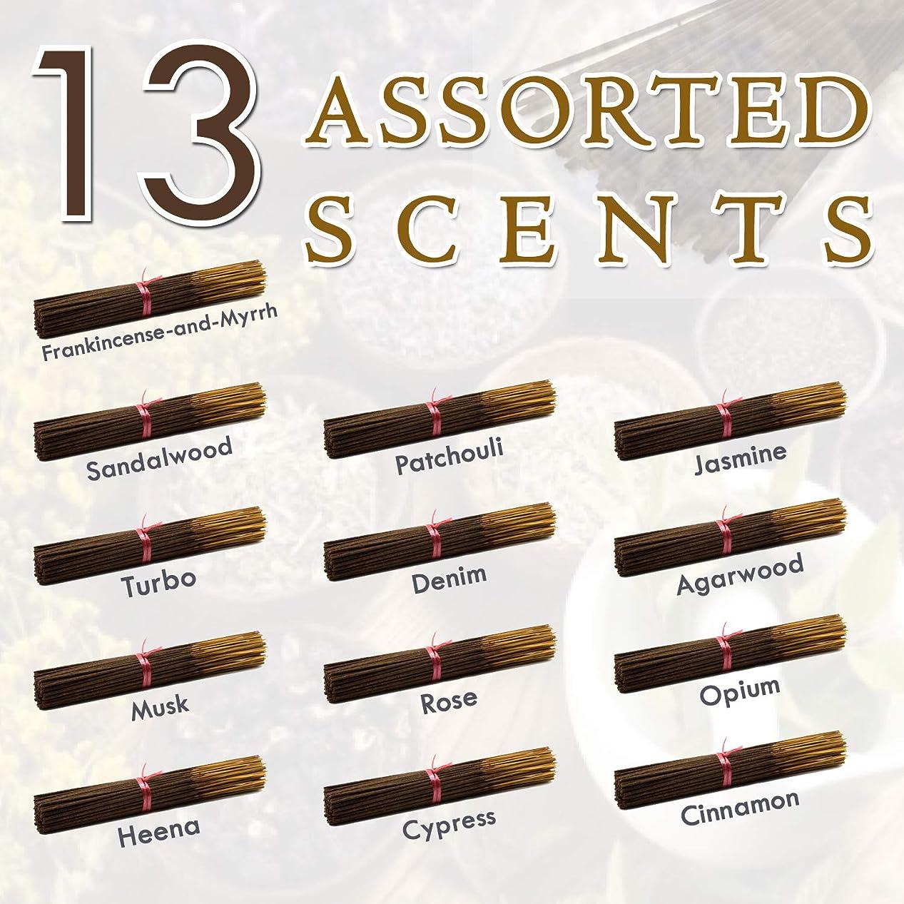 積極的に部族揮発性独占的な12種類の香り-乳香-ミルラ-サンダルウッド-パチョリ-ジャスミン-トゥルボ-デニム-ガーウッド-ム-ム-オピウム-ヘナ-サイプレス- 100%-天然インセンス-スティックハンドメイド - 手作り - 240-パック -