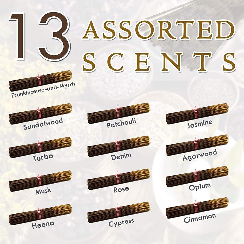 バイアスひばり蛾独占的な12種類の香り-乳香-ミルラ-サンダルウッド-パチョリ-ジャスミン-トゥルボ-デニム-ガーウッド-ム-ム-オピウム-ヘナ-サイプレス- 100%-天然インセンス-スティックハンドメイド - 手作り - 240-パック -