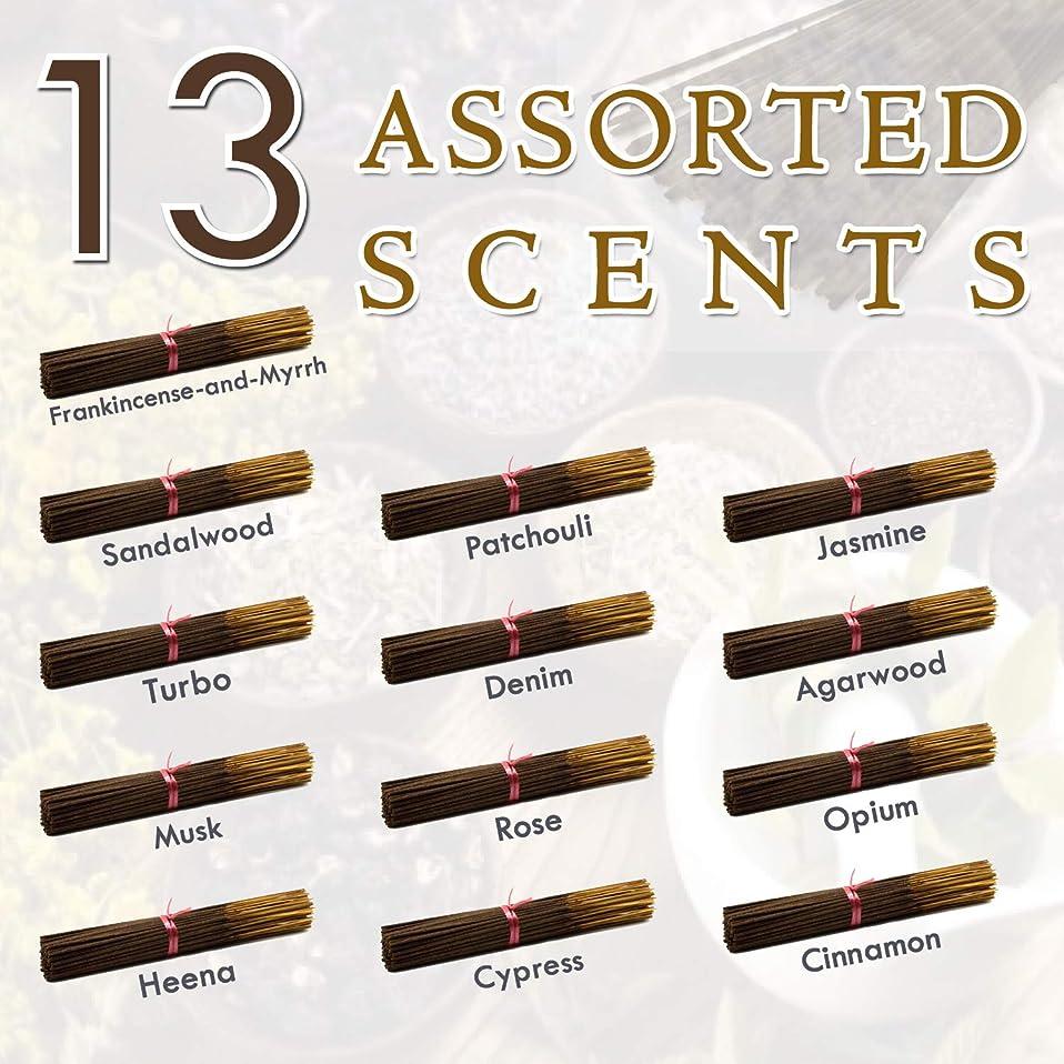 分析する帳面重要な独占的な12種類の香り-乳香-ミルラ-サンダルウッド-パチョリ-ジャスミン-トゥルボ-デニム-ガーウッド-ム-ム-オピウム-ヘナ-サイプレス- 100%-天然インセンス-スティックハンドメイド - 手作り - 240-パック -