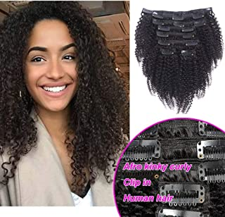 Kinky Curlys Clip In Human Hair Extensions, 100% Virgin Hair Extensions African American 4C Kinky Curlys Clip in Extensions For Black Women (#1b natural color,128gram/set,16inch)