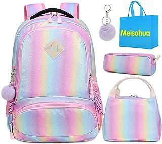 Mochila Rainbow Glitter para niñas - Mochila Preescolar para niños Lindos Mochila de Viaje Ligera Mochila Informal Encantadora Regalo para niñas 3 Packs - Rainbow