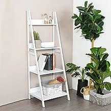 None White Finish 4-Tier Shelves Leaning Ladder Bookcase Bookshelf Display Planter