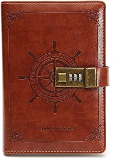 Password Notebook Business Premium Leather Diary Notebook with Coded Lock Gift