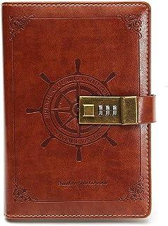 دفتر يوميات جلدي فاخر بكلمة مرور مع هدية بقفل مشفر