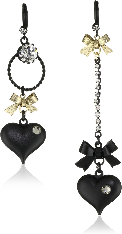 Betsey Johnson Heart/Bow Drop Earrings