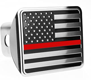 eVerHITCH USA US American Flag Stainless Steel Emblem on Metal Trailer Hitch Cover (Fits 2