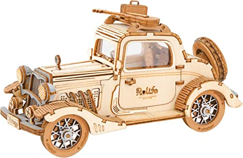 high quality Rolife discount Build outlet sale Your Own 3D Wooden Assembly Puzzle Wood Craft Kit Model, Gifts Kids Adults(Vintage Car) online sale