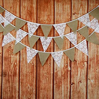 FirstKitchen 3.2M/10.5Feet Lace Bunting Vintage Flag Banner Pennant Garland Fabric Triangle Flags Lovely Cloth Shabby Chic Decoration for Birthday Retro Wedding Parties (Lace+Liner)