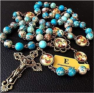 elegantmedical Hanmade Imperial Jasper Bead Catholic Rosary Antiqued Bronze Crucifix Necklace Jesus Cross Gift Box