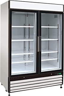 Chef's Exclusive CE325 Commercial 2 Hinged Swing Double Glass Door Refrigerated Merchandiser Cooler Showcase LED Lights 48 Cubic Feet 8 Adjustable Shelves Digital Controller Locks, 54 Inch Wide, White