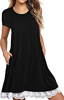 DonLeeving Women Summer Casual Short/Long Sleeve Lace Hem T-Shirt Loose Dress with Pockets
