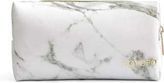 HOYOFO Cosmetic Pouch for Women Travel Makeup Bags Accessories Portable Marble Makeup Brush Organizer Bag Coin Purse, Marble White A