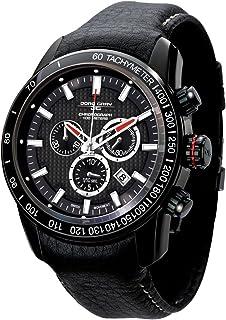 Jorg Gray ヨーグ・グレイ ヨーググレイ 3700 Chrono PVD 45mm Watch - Black Dial, Black Leather Strap JG3700-31 男性用 メンズ 腕時計 (並行輸入)