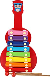 DAISYLIFE™ Natural Wooden Toddler Xylophone Musical Instrument for Kids with Multi-Colored Metal Bars with Two Set of Wooden Mallets (Red)