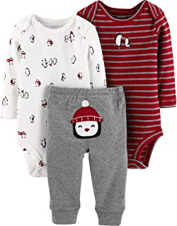Carter's Baby Boys' 3-Piece Little Character Pants Set (Heather/Red Penguins, NB)