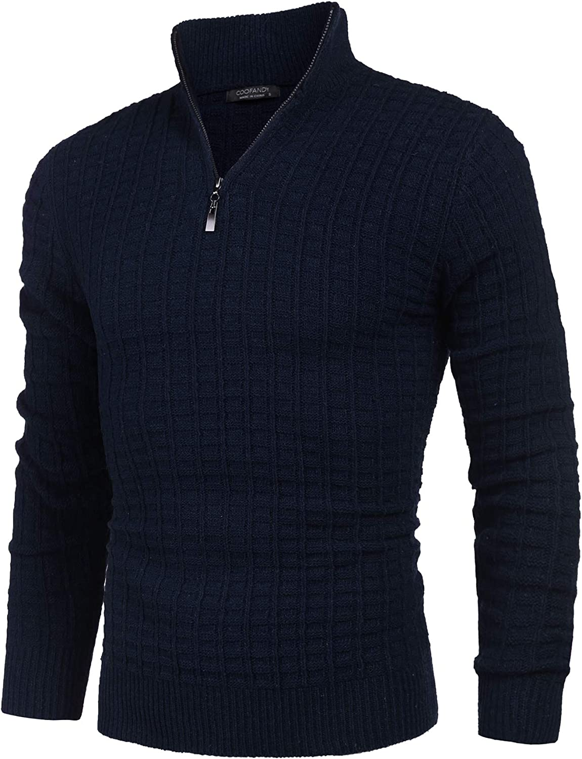 COOFANDY Mens Quarter Zip Sweaters Slim Fit Lightweight Cotton Knitted Mock Turtleneck Pullover