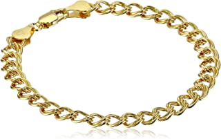 """Amazon Essentials Yellow Gold Plated Sterling Silver Double-Link Chain Bracelet, 7"""""""