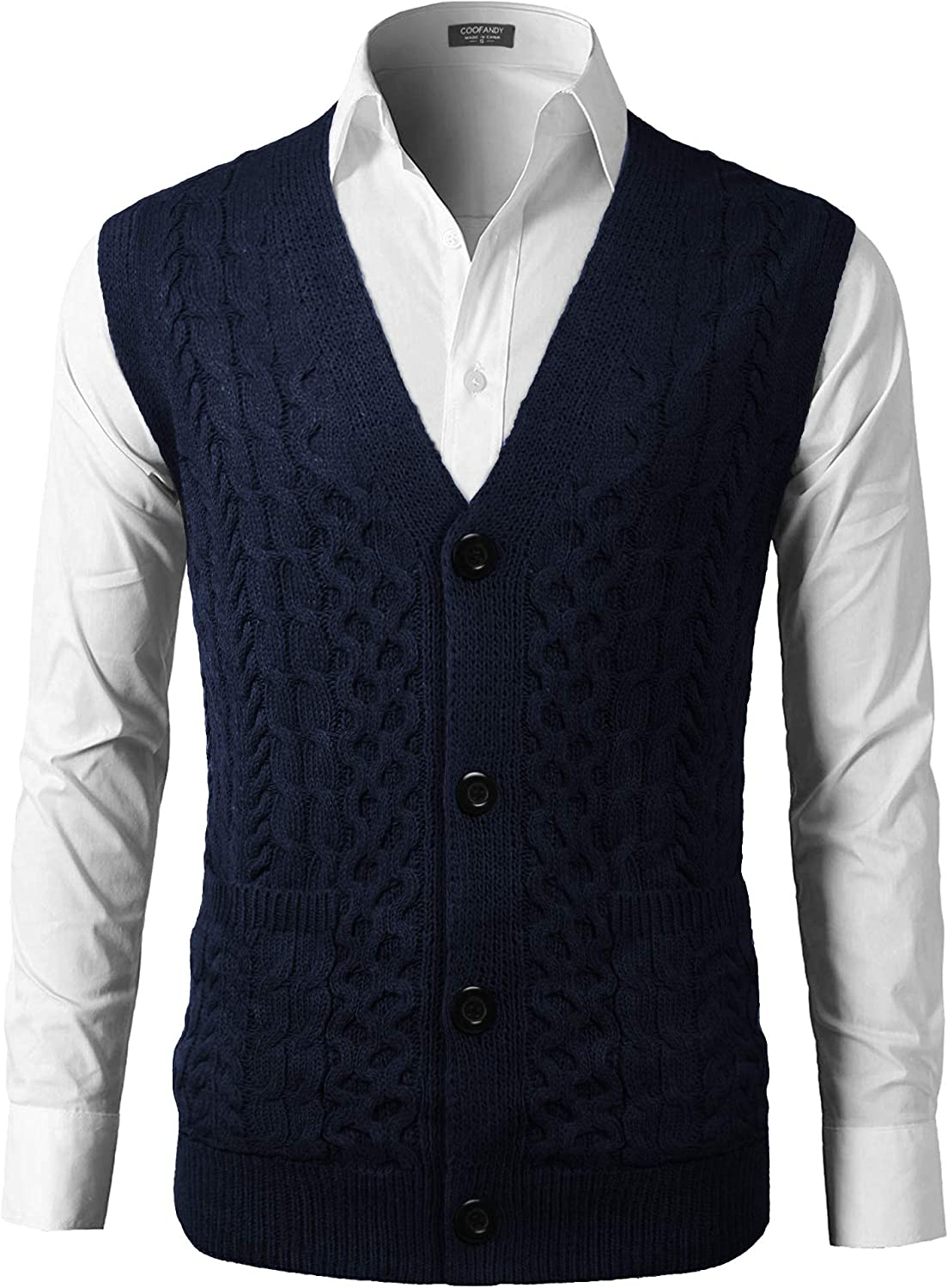 El Paso Mall COOFANDY Men V Max 75% OFF Neck Sweater Vest Knit Causal Buttons Sleeveless