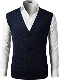 COOFANDY Men's V-Neck Sweater Vest Sleeveless Cable Knitwear Cardigan Waistcoat