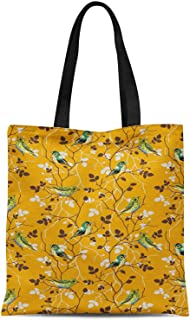 S4Sassy Blue Leaves & Flowerpecker Bird Printed Canvas Large Tote Bag for Beach Shopping Groceries Books 16x12 Inches