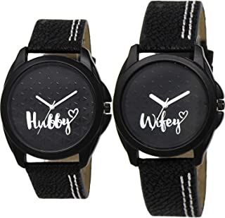 Nikola Hubby and Wife Valentine's Day Couple Analogue Black Color Dial Girls Watch - BL46.31-GL234 (Pack of 2)