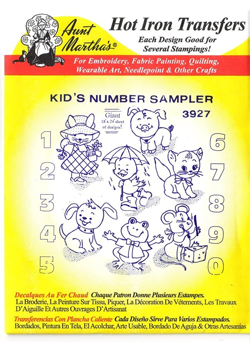 Kid's Number Sampler Aunt Martha's Hot Iron Embroidery Transfer