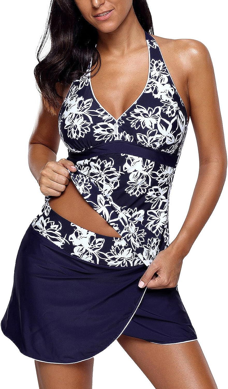 Uniarmoire Womens Two Piece Swimwear Ruffled Rimmed Tankini Set